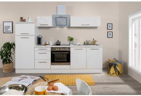 Hoogglans witte keuken inclusief inbouwapparatuur.