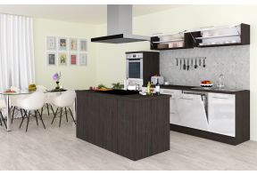 Meister kookeiland Premium - 280cm -Eiken Grijs - inclusief apparatuur