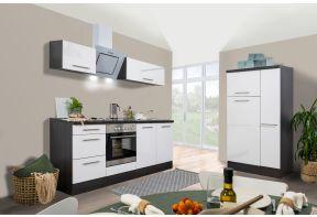 Meister Design keuken met Eiken Grijze ombouw en witte deuren met apothekerskast