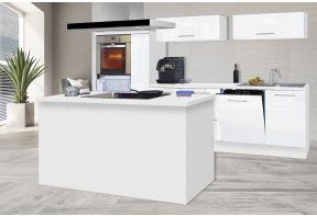 Meister kookeiland Premium - 310cm - Wit - inclusief apparatuur en apothekerskast