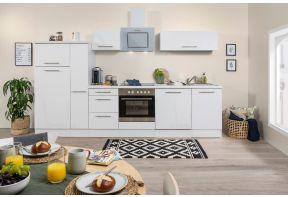 Complete witte keuken met hoogglans witte deuren, inclusief apparatuur.