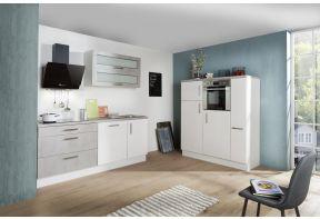 Meister Design-H keuken Beton - dubbel blok - 350cm wit - met apothekerskast in 2 losse delen opgesteld in een appartement