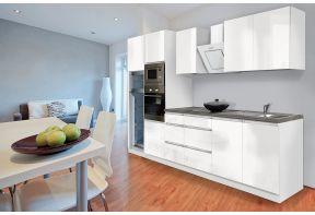 Compleet witte greeploze keuken voorzien van apparatuur
